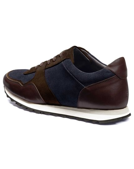Navy and brown sneaker