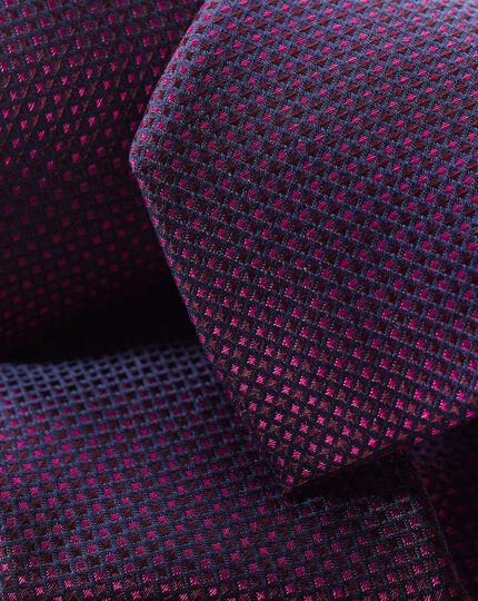 Schmutzabweisende schmale Krawatte aus Seide - Beerenrot