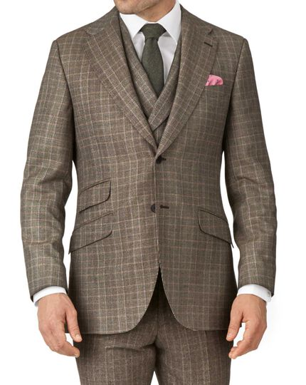 Tan slim fit British check flannel luxury suit jacket