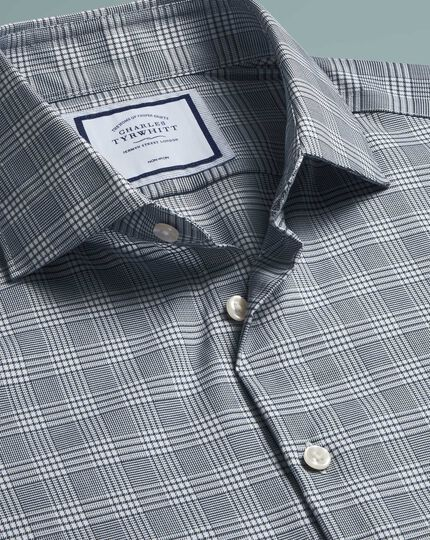 Super slim fit non-iron natural stretch Prince of Wales check grey shirt