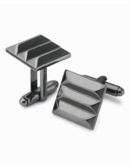 Manschettenknöpfe mit quadratischem Design und Kontrastrand in Silbergrau