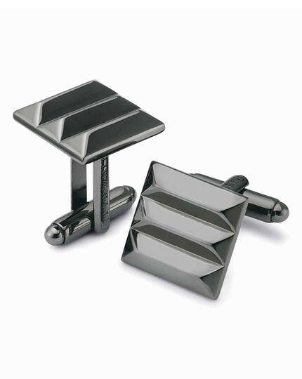 Gunmetal square ridged cufflinks