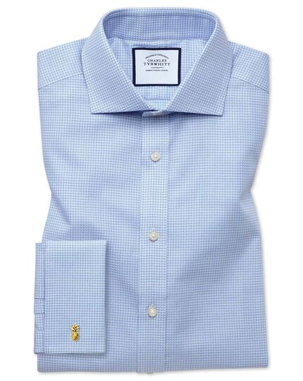 Extra slim fit spread collar textured puppytooth sky blue shirt