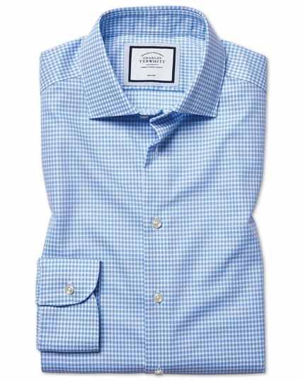 Hemelsblauw strijkvrij overhemd met natuurlijke stretch, extra slanke pasvorm