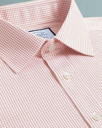 Slim fit non-iron twill mini grid check orange shirt
