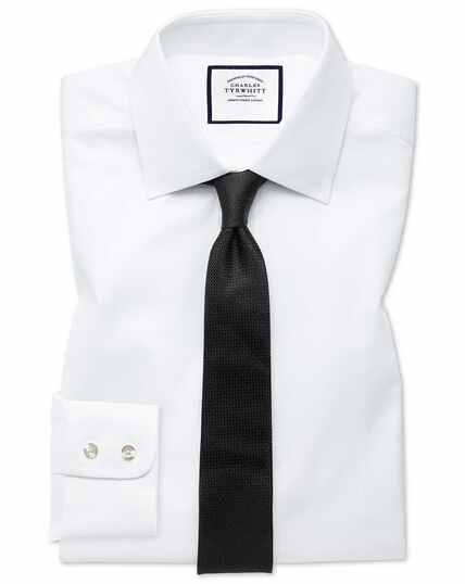 Extra slim fit white fine herringbone shirt