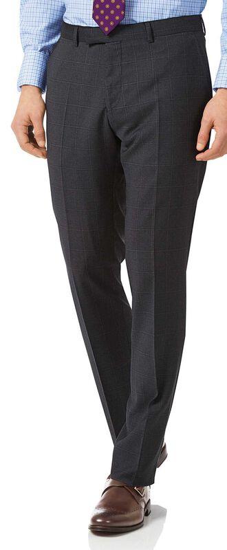 Slim Fit italienische Anzughose mit Karomuster in Grau