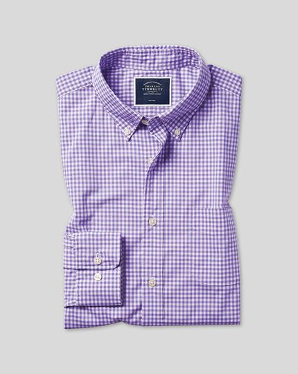 Extra slim fit lilac check gingham soft washed non-iron stretch poplin shirt