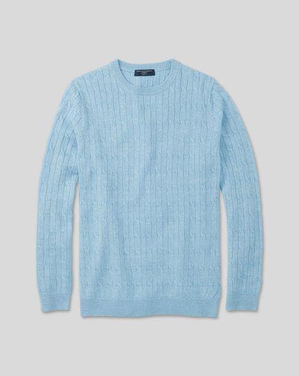 Pullover aus Merino-Leinen mit Rundhals und Zopfmuster - Himmelblau