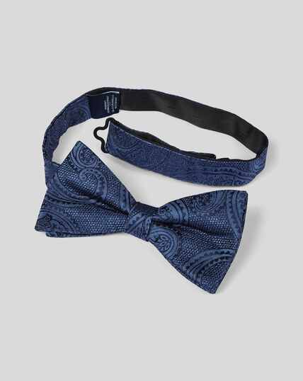 Silk Paisley Classic Bow Tie - Navy