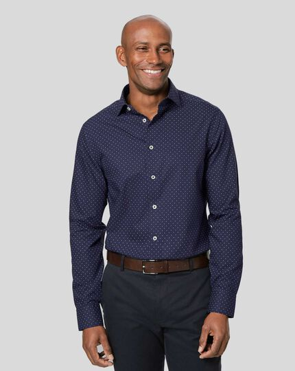 Smart Casual Collar Non-Iron Spot Printed Shirt - Navy