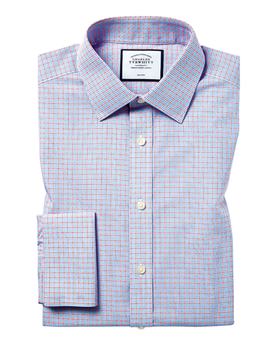 Classic Collar Non-Iron Poplin Check Shirt - Sky & Red