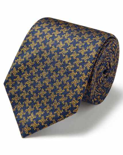 Gold and navy silk puppytooth classic tie