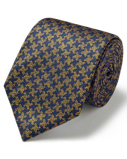 Gold and navy silk soft touch puppytooth design classic tie