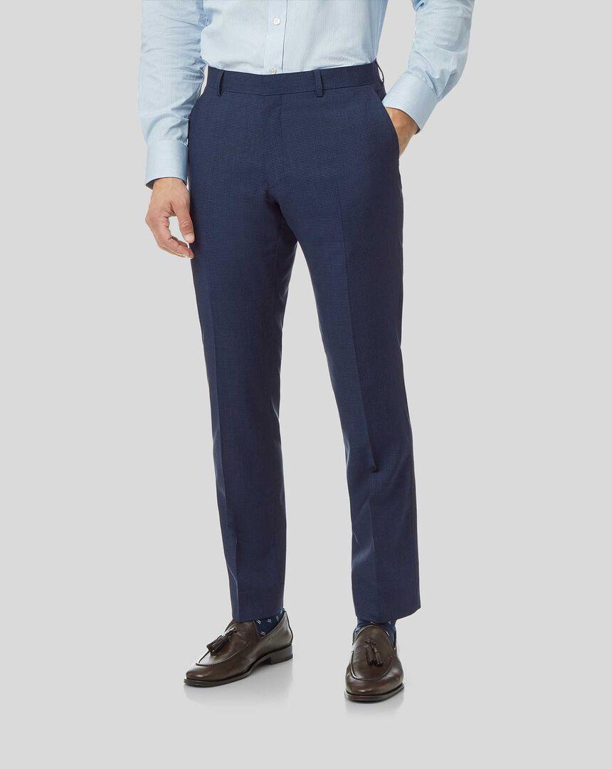 Mini Grid Suit Pants - Mid Blue