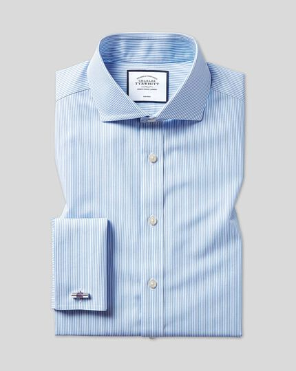 Slim fit cutaway non-iron Bengal stripe sky blue shirt