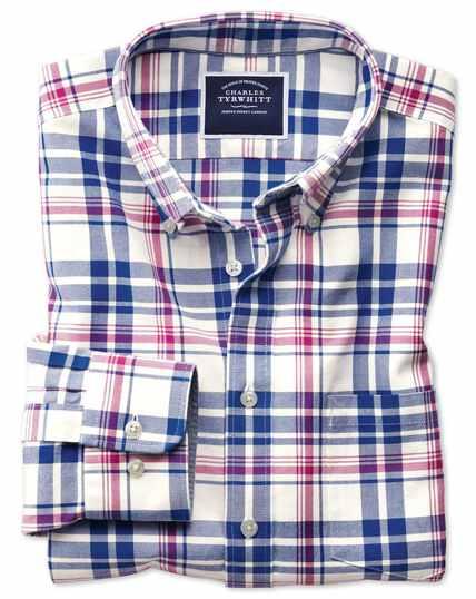 Chemise bleu roi et rose en oxford délavé coupe droite à carreaux et col boutonné