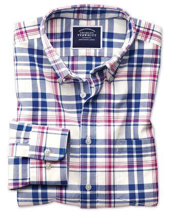 Chemise bleu roi et rose en oxford délavé slim fit à carreaux et col boutonné