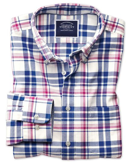 Slim fit button-down washed Oxford royal and pink check shirt