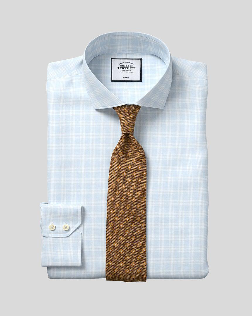 Spread Collar Non-Iron Prince Of Wales Check Shirt - Blue