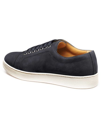 d774babcc19d Blue nubuck leather toe cap sneakers