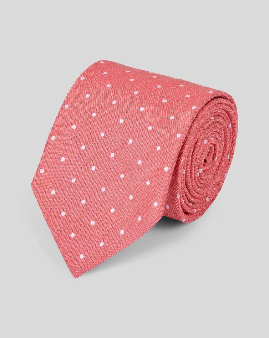 Silk Linen Spot Classic Tie - Coral