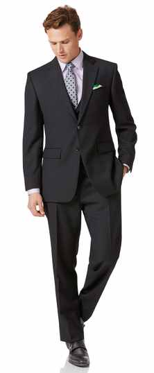 Classic Fit Business Twill-Anzug in Anthrazit
