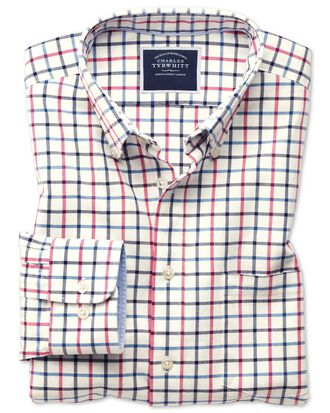 Slim fit button-down washed Oxford navy and pink check shirt