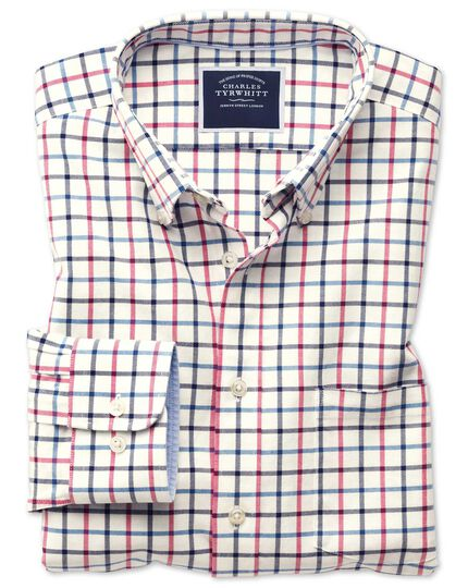 Slim Fit Oxfordhemd mit Button-down Kragen mit Karos in Marineblau und Rosa
