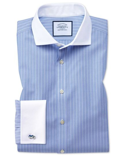 Slim fit spread collar non-iron Winchester blue and white shirt