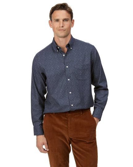 Classic fit soft washed non-iron twill navy leaf print shirt
