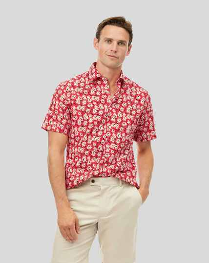 Classic Collar Short Sleeve Linen Cotton Floral Shirt - Red