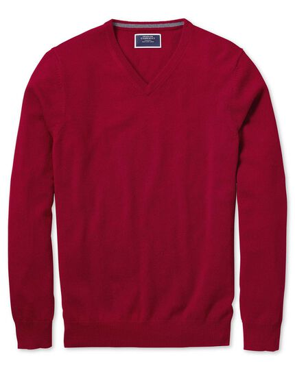 Red v-neck cashmere sweater