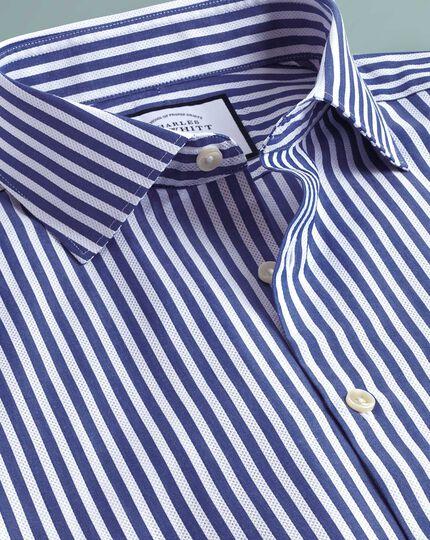 Chemise business casual bleue et blanche super slim fit à rayures et texture gaze