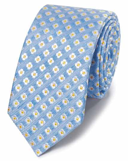 Sky blue floral silk linen slim tie