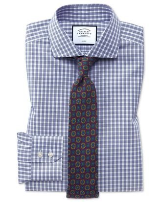 Bügelfreies Slim Fit Twill-Hemd mit Gingham-Karos in Blau