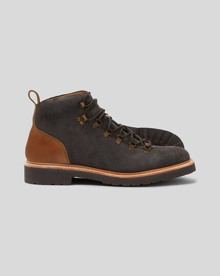 Goodyear Welted Suede Commando Sole Boot - Grey