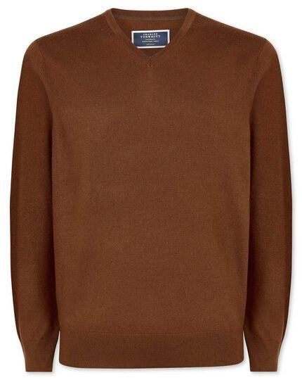 Brown merino v neck sweater