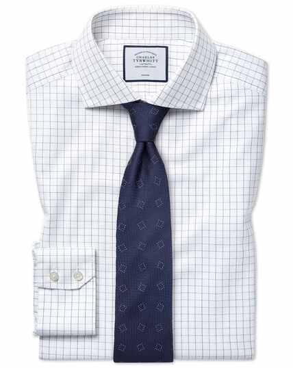 Bügelfreies Extra Slim Fit Hemd aus Baumwoll-Stretch mit Karos in Blau & Weiß