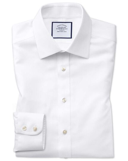 Slim fit non-iron white arrow weave shirt