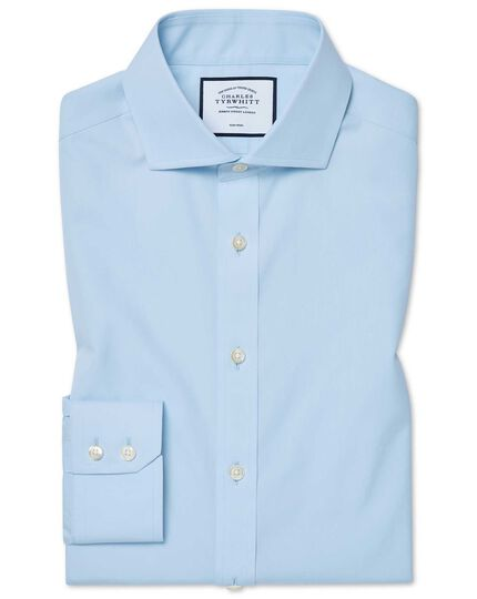 Chemise bleu ciel en coton Tyrwhitt Cool coupe droite à col cutaway sans repassage