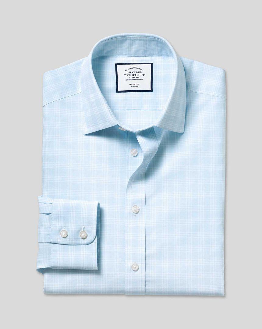Bügelfreies kariertes Prince-of-Wales-Hemd mit Kent-Kragen - Himmelblau