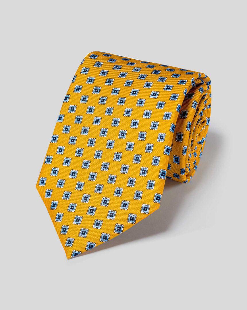 Krawatte aus Seide mit geometrischem-Print - Gold & Himmelblau