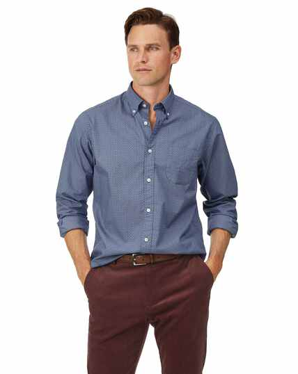 Classic fit navy print soft washed stretch poplin shirt