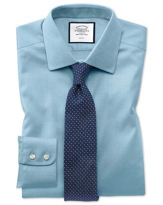 Bügelfreies Extra Slim Fit Hemd aus Triangle Gewebe in Aquamarin