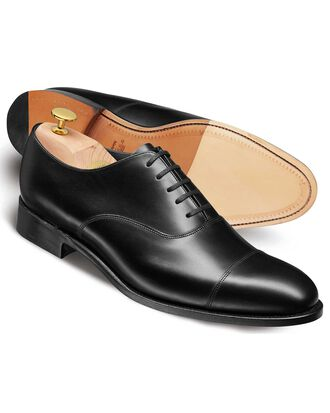 Black calf leather toe cap Oxford shoe