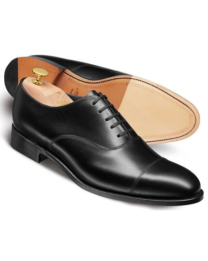 Black made in England Oxford toe cap shoes