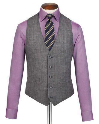 Grey adjustable fit jaspe check business suit waistcoat
