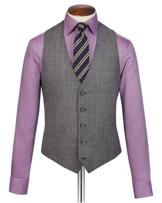Grey adjustable fit jaspe check business suit vest