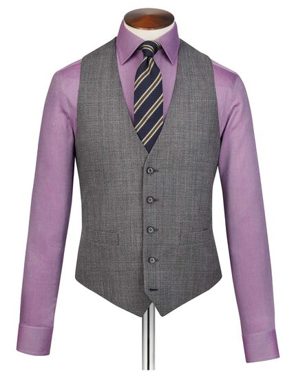 Grey adjustable fit jaspe check business suit waistcoat